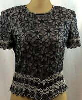 Papell' Boutique Ladies Top Slate Gray Silk Beaded Evening Size M