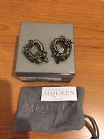 Alexander McQueen Hexagon & Bee Skull Honeycomb Brass Earrings