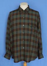 Vintage 50's MANIAL Plus Plaid Blends Rayon Button-Front Multi-Color Men Shirt L