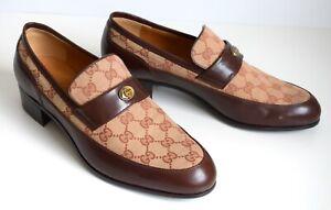 GUCCI Luxus Mens Shoes Canvas Leather black Size EU 43,5; UK 9,5; US 10
