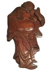 Vintage Happy Buddha Hand Carved Wood Plaque Wall Hanging