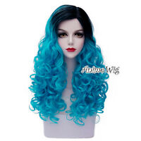 "Long 24"" Blue Mixed Black Curly Lolita Cosplay Heat Resistant Fashion Full Wig"