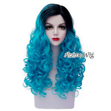 """Long 24"""" Blue Mixed Black Curly Lolita Cosplay Heat Resistant Fashion Full Wig"""