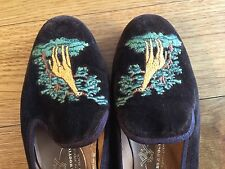"$450 Stubbs & Wootton Brown Velvet Embroidered ""giraffe"" Slippers Flat Sz 5.5"