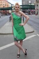 Kleid One Shoulder Wickelkleid Cocktailkleid Gr. 40 grün 70er True VINTAGE 70s