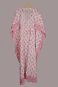 Anokhi Multi Cotton Kaftan Block Printed Indian Night Gown Kaftan Maxi Dress**