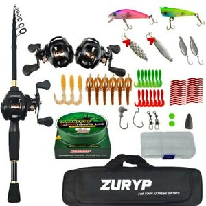 2.4M Portable Travel combo Spinning casting rod reel fishing kit Set with Bag