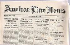 "ANCHOR LINE NEWS ""TRANSYLVANIA"" NORTH ATLANTIC EDITION,JUNE 29, 1938"