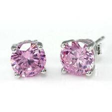 2.00 Carat Round Cut Pink Diamond Stud Earrings 14K White Gold Over, Screw Back