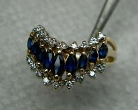 14K Yellow Gold Over 2.50Ct Marquise Blue Sapphire & Diamond Engagement Ring
