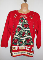 VTG Womens TIARA INT'L Red Ugly Christmas Tree Pullover Knit Sweater Large L