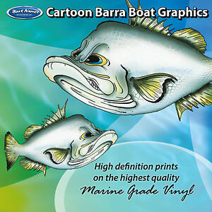 Cartoon Barra Graphics - set of 500mm Boat Graphics