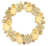 Laser Cut Detailed Penguin and Snowflake Wooden MDF Christmas Craft Wreath Gift