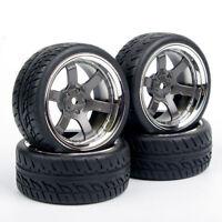 4Pcs Rubber Tires Wheel PP0038+PP0150 12mm Hex HPI Racing RC 1:10 On Road Car