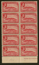 GIBRALTAR :1938 1 1/2d carmine perf 14 SG123 unmounted mint marginal block of 10