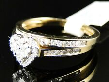 YELLOW GOLD LADIES HEART DIAMOND WEDDING ENGAGEMENT BRIDAL BAND RING SET .55 CT