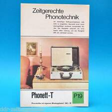 Phonett-T Phonokoffer DDR 1968 | Prospekt Werbung Werbeblatt DEWAG P19 B