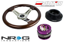NRG 330mm Brown Wood Chrome Spoke Steering Wheel + 101H Hub 2.0 PP Quick Release