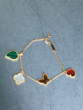 Bracelet Butterfly Yellow Gold  Titanium Clover Leaf Heart Mother Of Pearl