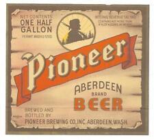 1/2 gal Pioneer Aberdeen Beer Label, U-Permit, Irtp, Pioneer, Aberdeen, Wa