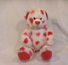 Build A Bear Valentine's Hearts Plush Bear 15� White with Pinks Hearts Babw