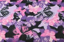 PINK PURPLE BUTTERFLYS CAMO FLANNEL FABRIC 100% COTTON SEWING QUILTING 1/2 YARD