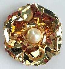 """JOAN RIVERS Gold Tone Flower 2.5"""" Brooch/Pin with Faux Pearl Center"""