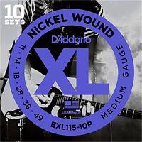 D'Addario Nickel Electric Guitar Strings, Medium/Blues-Jazz Rock, 11-49, 10 Sets