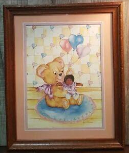 African American Nursery Decor Black Cabbage Patch print Ava Freeman framed VTG!