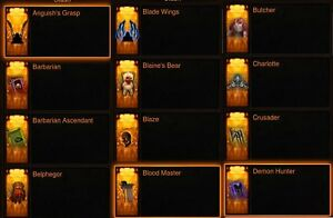 Diablo 3 PS4 Ultimate 68 Cosmetics Pets+Wings+Banners Bundle for softcore.