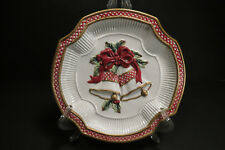 Nib Fitz And Floyd Holiday Bells Canape' Plate Christmas Holiday Holly 2003