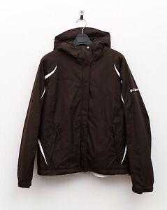 Columbia M Women's Ski Jacket Waterproof Fleece Lining Coat Hooded Brown RA18h