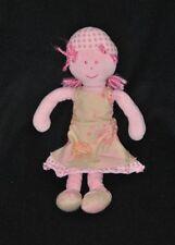 Peluche doudou poupée fille rose MARESE robe rose beige fleurs 27 cm TTBE