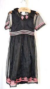 April Cornell Corina Kids Black Sheer Pinafore Dress Stunning NWT $79 Girls 5/6