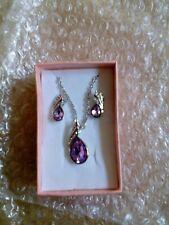 2pcs water drop design silver plated purple necklace earrings women jewelry sets