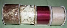 """lot of 4 bolts 2 1/2"""" wired ribbon golds and burgundy"""