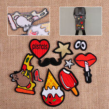 10x Ice Cream Cat Lip Heart Star Sew Iron On Cloth Bags Patch Badge DIY Applique