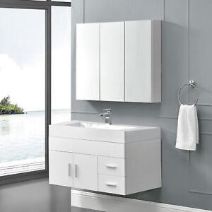 B-WARE Badmöbel Set Spiegelschrank Waschbecken-Unterschrank Spiegel Schrank