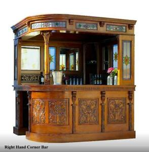 Corner Bar Tavern with Tiffany Glass and Mirrors English Pub Right Hand