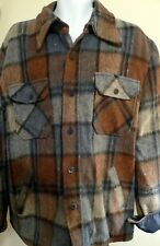 Vintage Men's Size Xl Sears Outerwear Heavy Wool Plaid Lined Jacket Shirt
