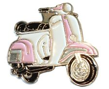 Pale Pink & White Girls Scooter Female MOD Metal Scooterist Bike Enamel Badge