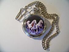 3 White Horses Image Gift Present Quartz Pocket Watch with Lid Chain and