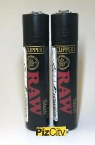 *£5.95* x2 Official Black RAW Clipper Lighters - Refillable & Reflintable