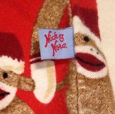 Nick & Nora Christmas Sock Monkey Pajama Set Santa Red Top Pants Sleepwear Small
