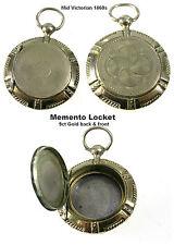 Antico MEMENTO MORI Medaglione Ciondolo 9ct Oro Giallo B&F foto Vittoriano 1860s