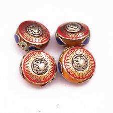 Coral Lapis Turquoise Brass 4 Beads Tibetan Nepalese handmade Tibet Nepal UB2540
