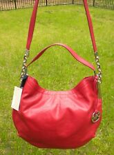 Michael Kors Glazed Red Leather Large Chain Julian Convertible Shoulder Bag NEW