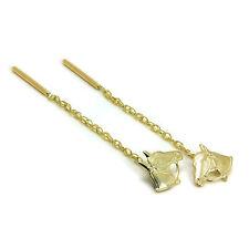 9ct Gold Horse Head Pull Through Chain Earrings Thru Pony Horses Ponies