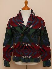 NEW Polo Ralph Lauren Hand Knit Indian Blanket Leather Wool Sweater Cardigan M