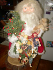 Primitive Resin Sculpted Face Santa with Lots of Toys
